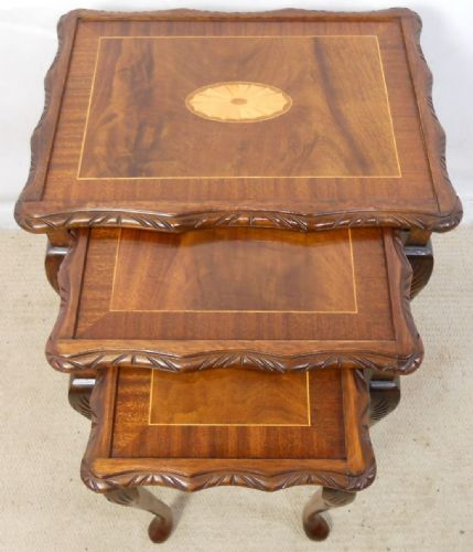 Inlaid Mahogany Nest of Three Coffee Tables